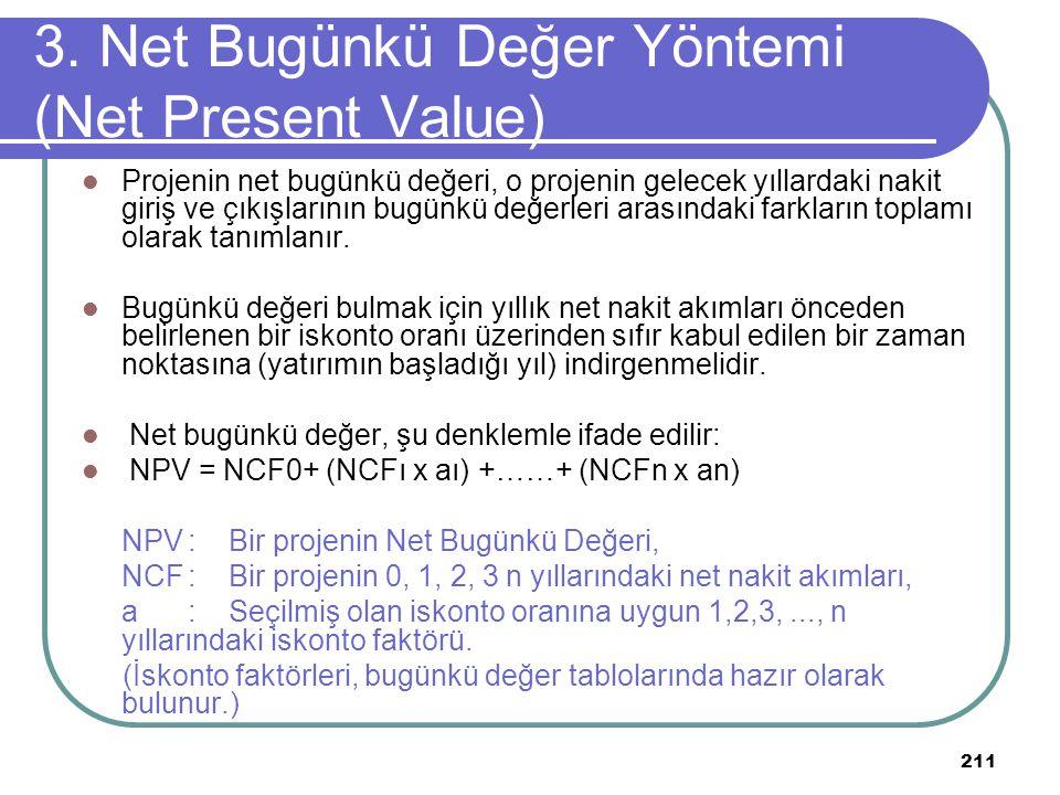 211 3. Net Bugünkü Değer Yöntemi (Net Present Value) Projenin net bugünkü değeri, o projenin gelecek yıllardaki nakit giriş ve çıkışlarının bugünkü de