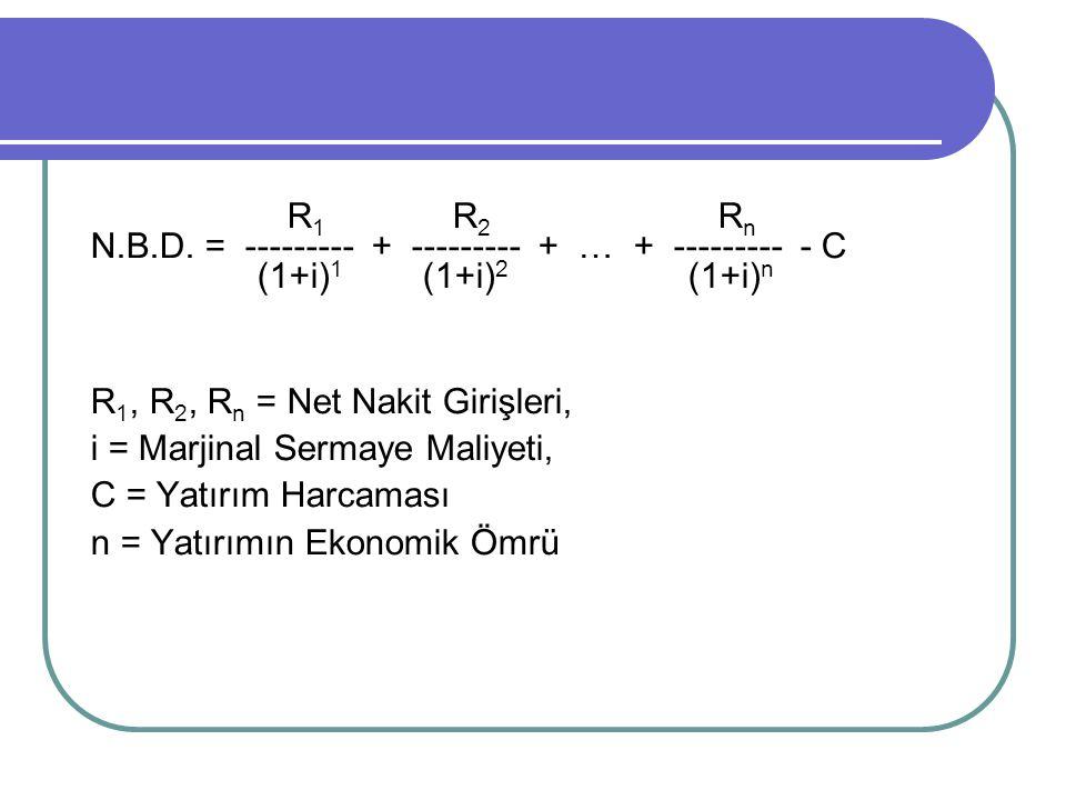 R 1 R 2 R n N.B.D. = --------- + --------- + … + --------- - C (1+i) 1 (1+i) 2 (1+i) n R 1, R 2, R n = Net Nakit Girişleri, i = Marjinal Sermaye Maliy