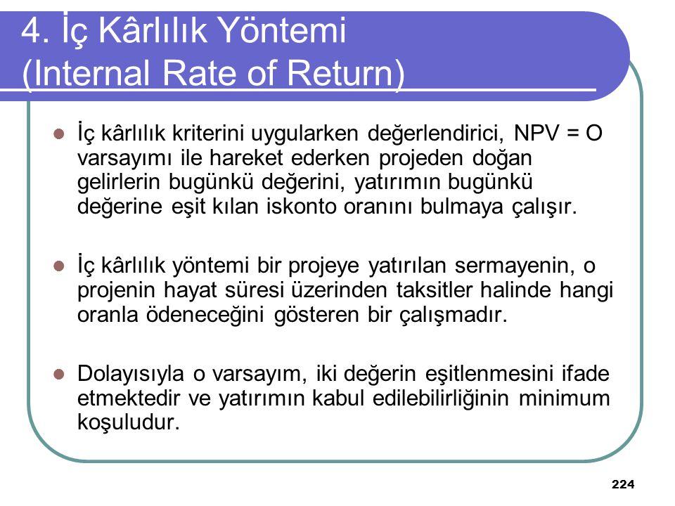 224 İç kârlılık kriterini uygularken değerlendirici, NPV = O varsayımı ile hareket ederken projeden doğan gelirlerin bugünkü değerini, yatırımın bugün