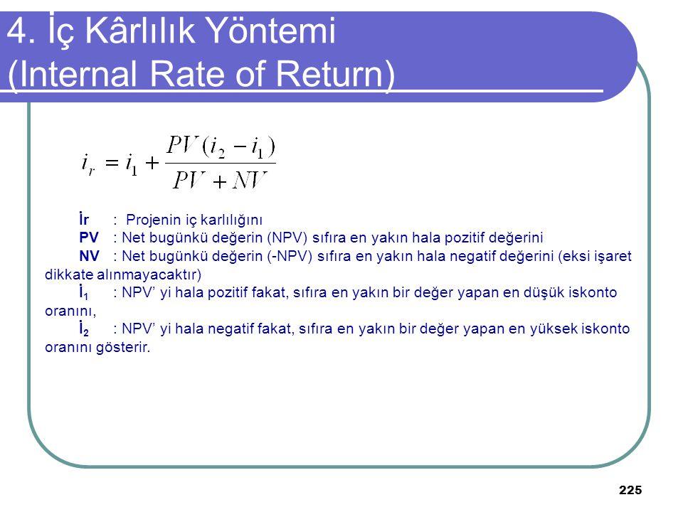 225 4. İç Kârlılık Yöntemi (Internal Rate of Return) İr: Projenin iç karlılığını PV: Net bugünkü değerin (NPV) sıfıra en yakın hala pozitif değerini N