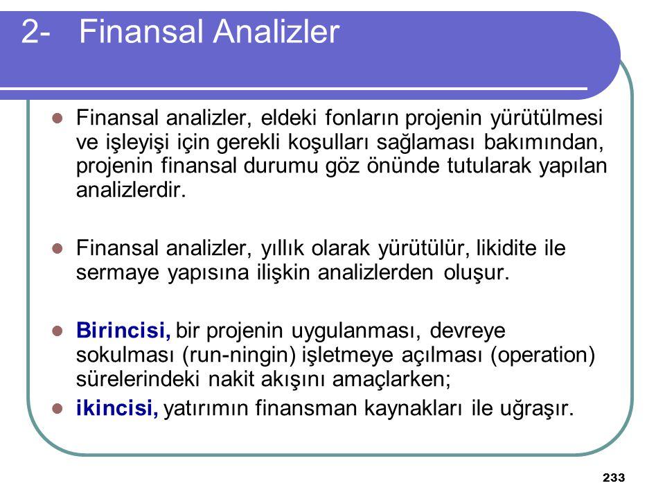 233 2- Finansal Analizler Finansal analizler, eldeki fonların projenin yürütülmesi ve işleyişi için gerekli koşulları sağlaması bakımından, projenin f