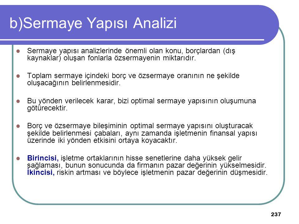 237 b)Sermaye Yapısı Analizi Sermaye yapısı analizlerinde önemli olan konu, borçlardan (dış kaynaklar) oluşan fonlarla özsermayenin miktarıdır. Toplam