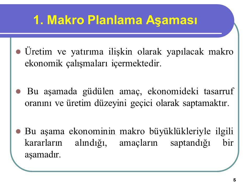 5 1. Makro Planlama Aşaması Üretim ve yatırıma ilişkin olarak yapılacak makro ekonomik çalışmaları içermektedir. Bu aşamada güdülen amaç, ekonomideki