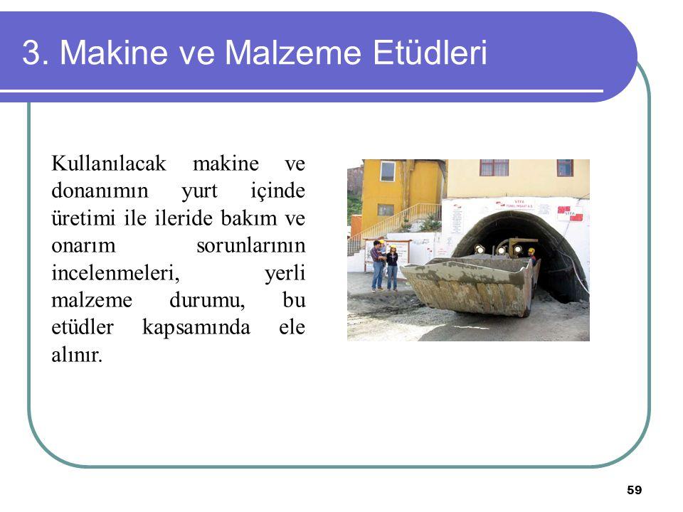 59 3. Makine ve Malzeme Etüdleri Kullanılacak makine ve donanımın yurt içinde üretimi ile ileride bakım ve onarım sorunlarının incelenmeleri, yerli ma