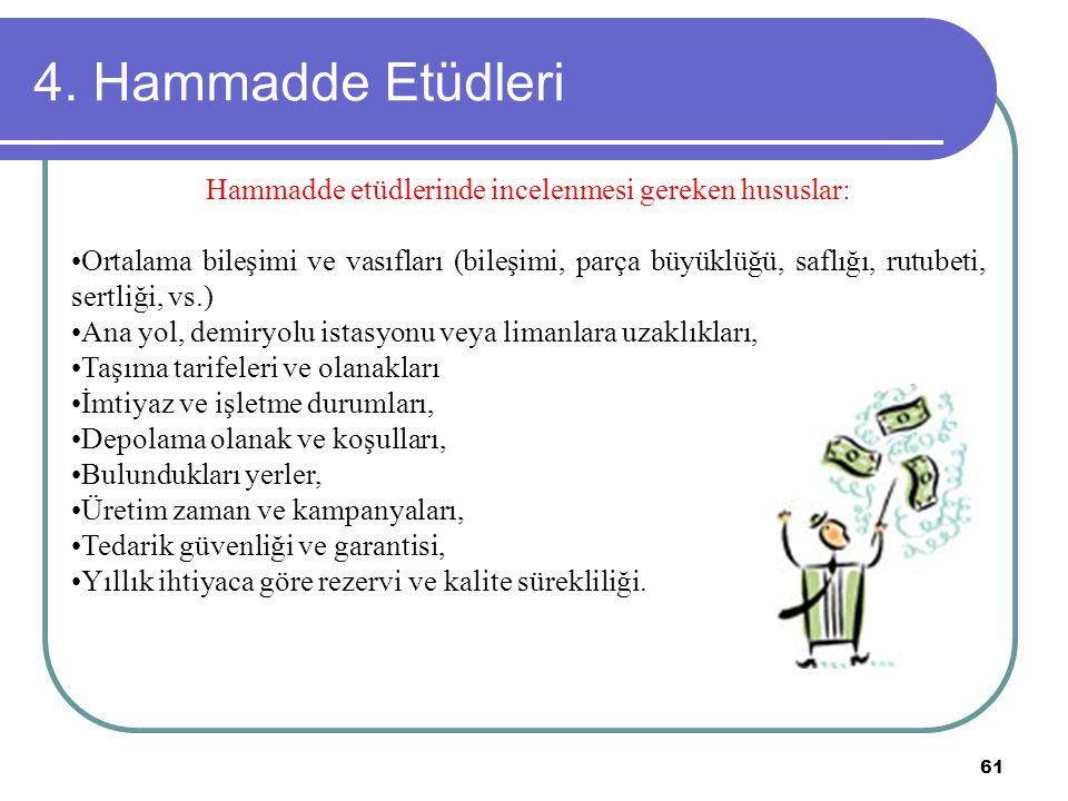 61 4. Hammadde Etüdleri Hammadde etüdlerinde incelenmesi gereken hususlar: Ortalama bileşimi ve vasıfları (bileşimi, parça büyüklüğü, saflığı, rutubet
