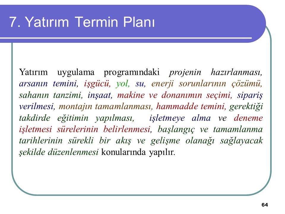 64 7. Yatırım Termin Planı Yatırım uygulama programındaki projenin hazırlanması, arsanın temini, işgücü, yol, su, enerji sorunlarının çözümü, sahanın