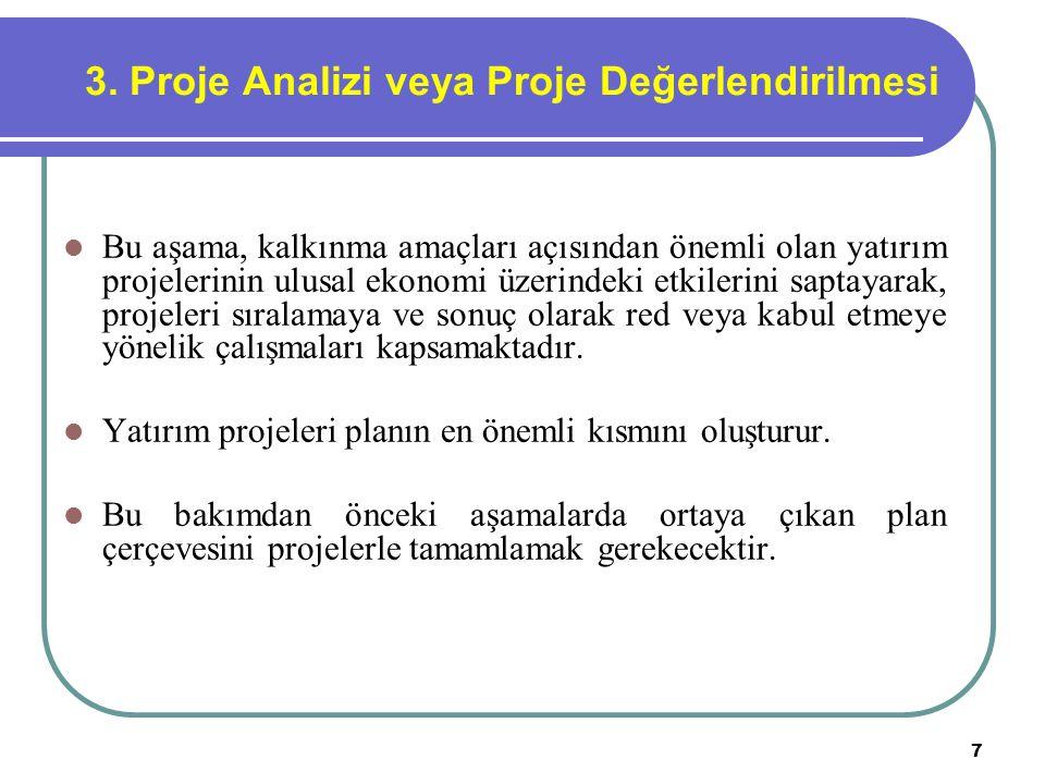 7 3. Proje Analizi veya Proje Değerlendirilmesi Bu aşama, kalkınma amaçları açısından önemli olan yatırım projelerinin ulusal ekonomi üzerindeki etkil