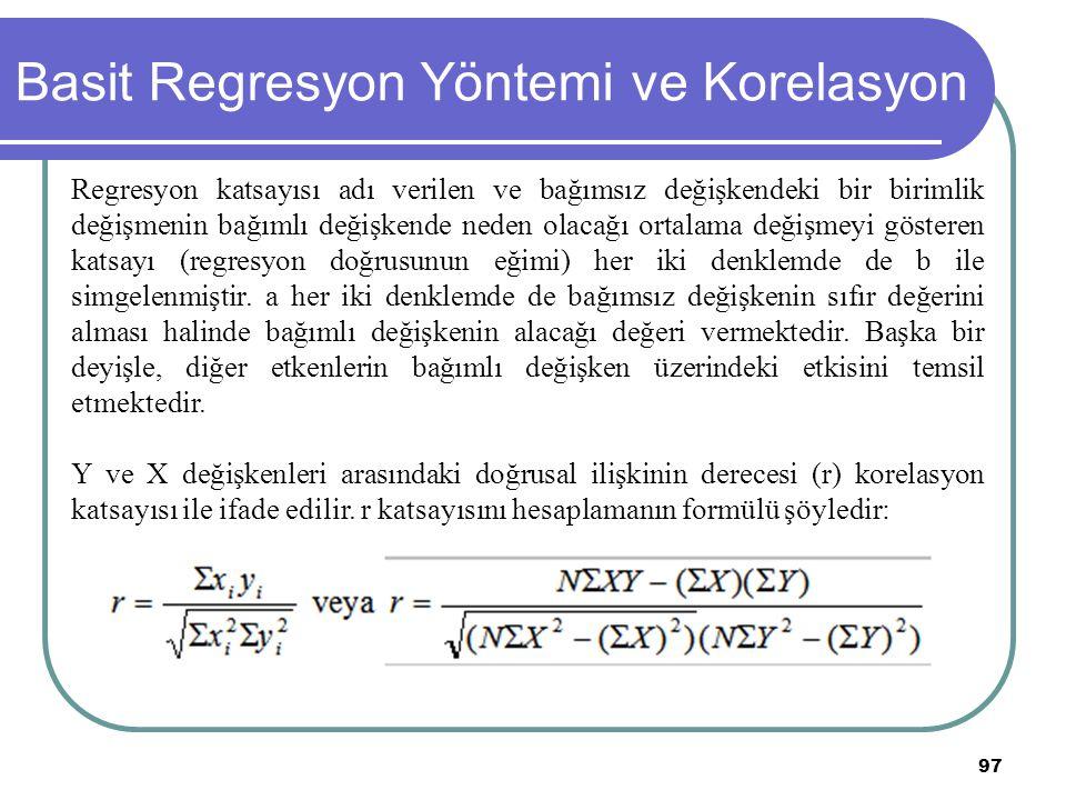97 Basit Regresyon Yöntemi ve Korelasyon Regresyon katsayısı adı verilen ve bağımsız değişkendeki bir birimlik değişmenin bağımlı değişkende neden ola