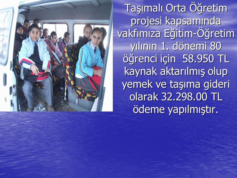 Taşımalı Orta Öğretim projesi kapsamında vakfımıza Eğitim-Öğretim yılının 1. dönemi 80 öğrenci için 58.950 TL kaynak aktarılmış olup yemek ve taşıma g