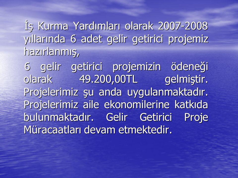 İş Kurma Yardımları olarak 2007-2008 yıllarında 6 adet gelir getirici projemiz hazırlanmış, İş Kurma Yardımları olarak 2007-2008 yıllarında 6 adet gel