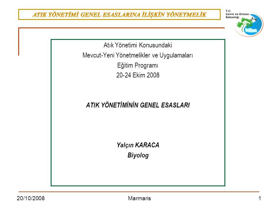 1220/10/2008 Marmaris Geri kazanım: EK-II B'de yer alan işlemlerden herhangi birisi, EK II B GERİ KAZANIM İŞLEMLERİ R1 Enerji üretimi amacıyla başlıca yakıt olarak veya başka şekillerde kullanma R2 Solvent (çözücü) ıslahı/yeniden üretimi, R3 Solvent olarak kullanılmayan organik maddelerin ıslahı/geri dönüşümü (kompost ve diğer biyolojik dönüşüm prosesleri dahil) R4 Metallerin ve metal bileşiklerinin ıslahı/geri dönüşümü, R5 Diğer anorganik malzemelerin ıslahı/geri dönüşümü, R6 Asitlerin veya bazların yeniden üretimi, R7 Kirliliğin azaltılması için kullanılan parçaların (bileşenlerin) geri kazanımı, R8 Katalizör parçalarının (bileşenlerinin) geri kazanımı, R9 Yağların yeniden rafine edilmesi veya diğer tekrar kullanımları, R10 Ekolojik iyileştirme veya tarımcılık yararına sonuç verecek arazi ıslahı, R11 R1 ila R10 arasındaki işlemlerden elde edilecek atıkların kullanımı, R12 Atıkların R1 ila R11 arasındaki işlemlerden herhangi birine tabi tutulmak üzere değişimi, R13 R1 ila R12 arasında belirtilen işlemlerden herhangi birine tabi tutuluncaya kadar atıkların depolanması (atığın üretildiği alan içinde geçici depolama, toplama hariç)