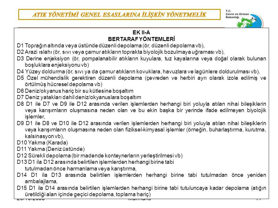 1120/10/2008 Marmaris Bertaraf: Bertaraf: EK-II A'da yer alan işlemlerden herhangi birisi, EK II-A BERTARAF YÖNTEMLERİ D1Toprağın altında veya üstünde