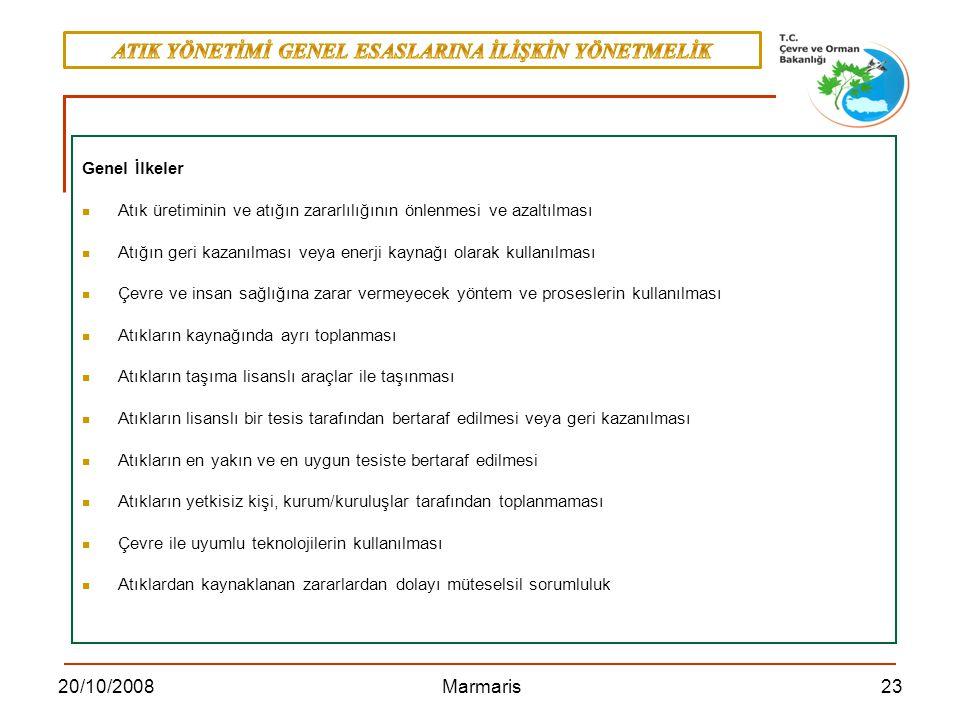 2320/10/2008 Marmaris Genel İlkeler Atık üretiminin ve atığın zararlılığının önlenmesi ve azaltılması Atığın geri kazanılması veya enerji kaynağı olar
