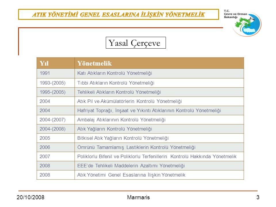 320/10/2008 Marmaris YılYönetmelik 1991Katı Atıkların Kontrolü Yönetmeliği 1993-(2005)Tıbbi Atıkların Kontrolü Yönetmeliği 1995-(2005)Tehlikeli Atıkla