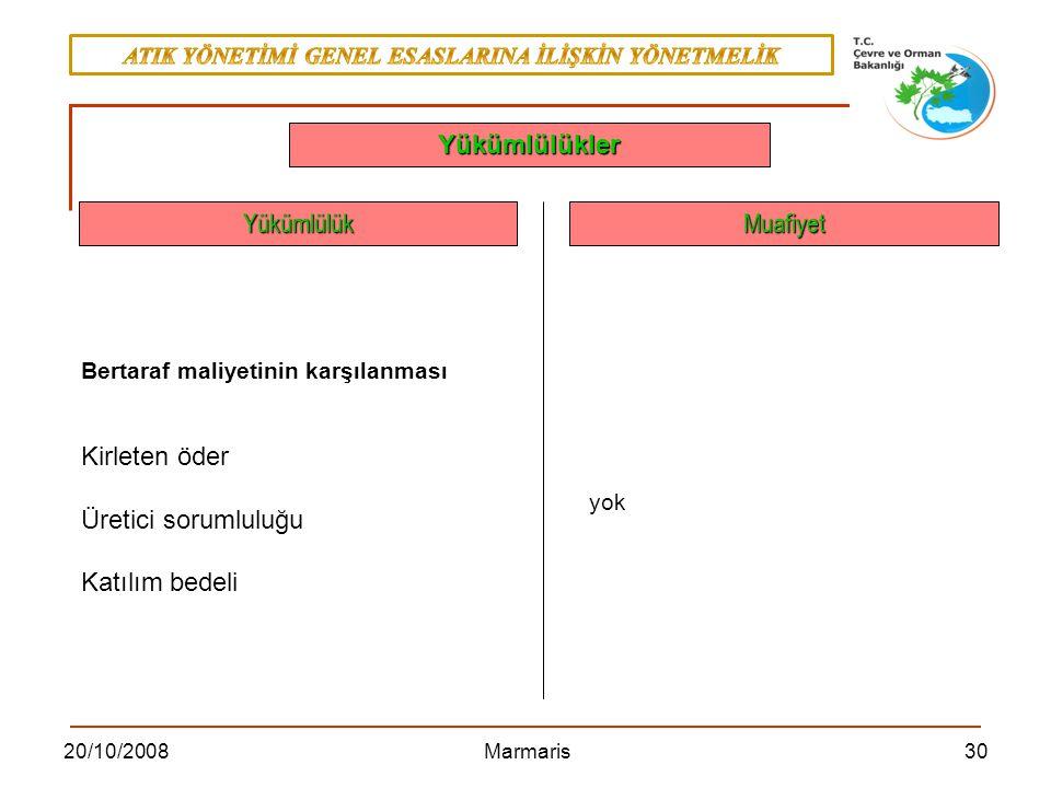 3020/10/2008 Marmaris YükümlülükMuafiyet Yükümlülükler yok Bertaraf maliyetinin karşılanması Kirleten öder Üretici sorumluluğu Katılım bedeli