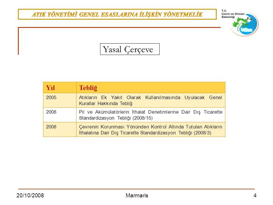 4520/10/2008 Marmaris EK II B GERİ KAZANIM İŞLEMLERİ R1Enerji üretimi amacıyla başlıca yakıt olarak veya başka şekillerde kullanma R2 Solvent (çözücü) ıslahı/yeniden üretimi, R3Solvent olarak kullanılmayan organik maddelerin ıslahı/geri dönüşümü (kompost ve diğer biyolojik dönüşüm prosesleri dahil) R4 Metallerin ve metal bileşiklerinin ıslahı/geri dönüşümü, R5 Diğer anorganik malzemelerin ıslahı/geri dönüşümü, R6 Asitlerin veya bazların yeniden üretimi, R7 Kirliliğin azaltılması için kullanılan parçaların (bileşenlerin) geri kazanımı, R8 Katalizör parçalarının (bileşenlerinin) geri kazanımı, R9 Yağların yeniden rafine edilmesi veya diğer tekrar kullanımları, R10 Ekolojik iyileştirme veya tarımcılık yararına sonuç verecek arazi ıslahı, R11R1 ila R10 arasındaki işlemlerden elde edilecek atıkların kullanımı, R12 Atıkların R1 ila R11 arasındaki işlemlerden herhangi birine tabi tutulmak üzere değişimi, R13 R1 ila R12 arasında belirtilen işlemlerden herhangi birine tabi tutuluncaya kadar atıkların depolanması (atığın üretildiği alan içinde geçici depolama, toplama hariç)