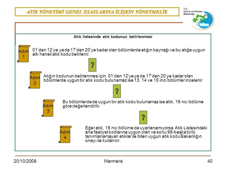 4020/10/2008 Marmaris Atık listesinde atık kodunun belirlenmesi 01'den 12'ye ya da 17'den 20'ye kadar olan bölümlerde atığın kaynağı ve bu atığa uygun