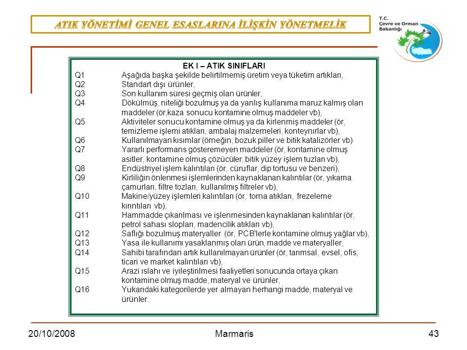 4320/10/2008 Marmaris EK I – ATIK SINIFLARI Q1Aşağıda başka şekilde belirtilmemiş üretim veya tüketim artıkları, Q2 Standart dışı ürünler, Q3 Son kull