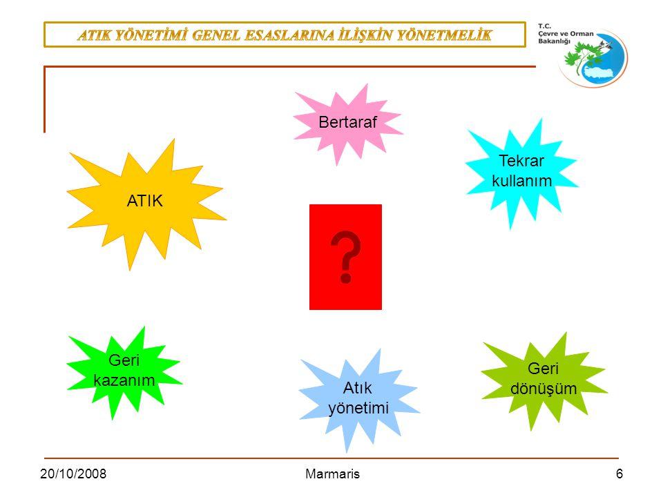 1720/10/2008 Marmaris Ürün-Atık Ayırımı - 4 Piyasa değeri Belirli pazarlarda ticareti yapılan bir ürünün eğer doğrudan bir işleme tabi tutulmadan düzenli olarak pozitif bir pazar değeri bulunursa, bu ürün ATIK DEĞİLDİR.