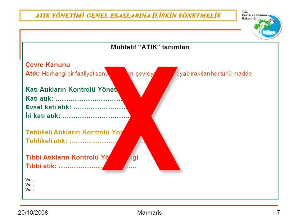 820/10/2008 Marmaris Atık Listesinin Oluşturulmasına Dair Komisyon Kararı ( 2000/532/EC, 03/05/2000) Atık Çerçeve Direktifi ( 75/442/EEC,15/07/1975) Atık Direktifi ( 2006/12/EC, 05/04/2006) ATIK YÖNETİMİ GENEL ESASLARINA İLİŞKİN YÖNETMELİK 05.07.2008 tarih ve 26927 sayılı Resmi Gazete