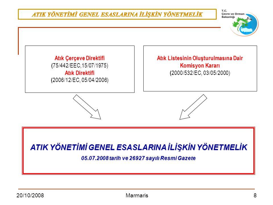 820/10/2008 Marmaris Atık Listesinin Oluşturulmasına Dair Komisyon Kararı ( 2000/532/EC, 03/05/2000) Atık Çerçeve Direktifi ( 75/442/EEC,15/07/1975) A