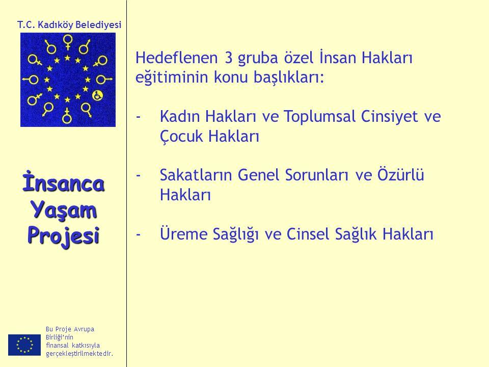 Bu Proje Avrupa Birliği'nin finansal katkısıyla gerçekleştirilmektedir. İnsanca Yaşam Projesi T.C. Kadıköy Belediyesi Hedeflenen 3 gruba özel İnsan Ha