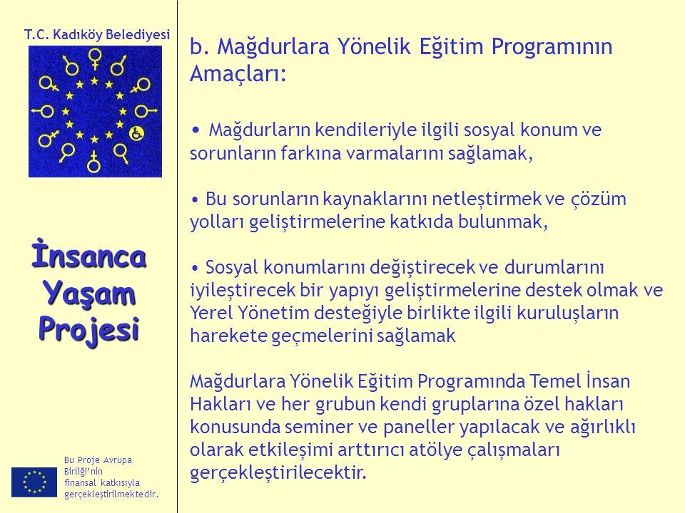 Bu Proje Avrupa Birliği'nin finansal katkısıyla gerçekleştirilmektedir. İnsanca Yaşam Projesi T.C. Kadıköy Belediyesi b. Mağdurlara Yönelik Eğitim Pro