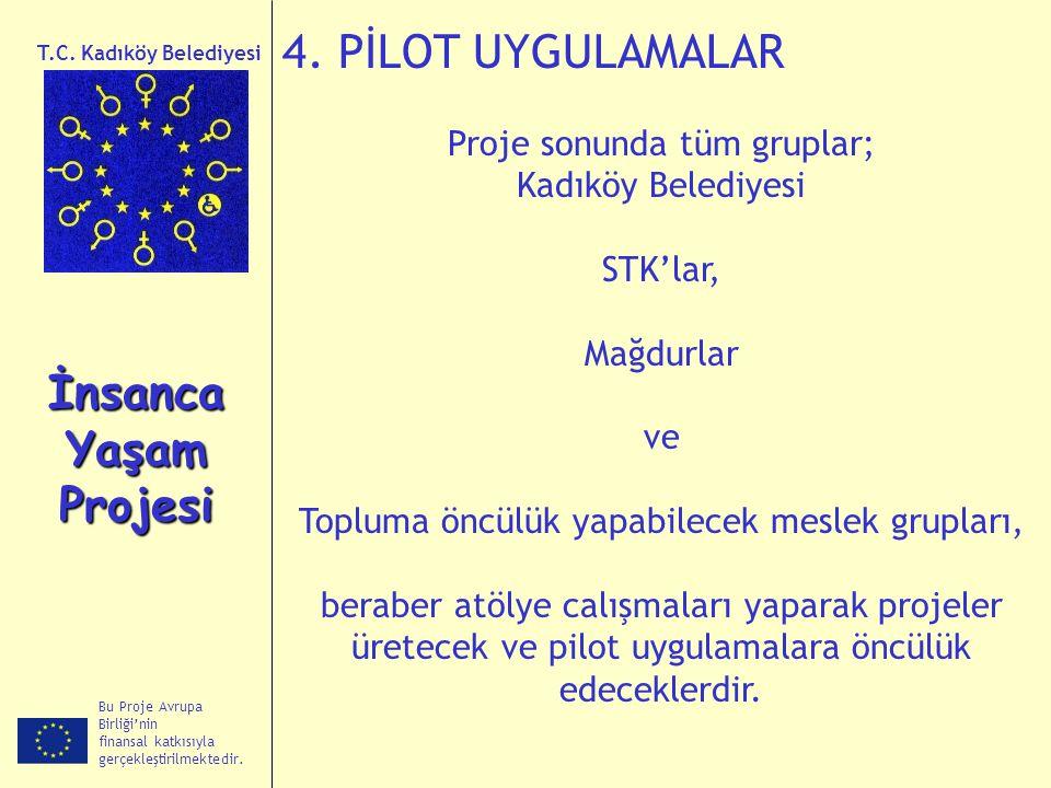 Bu Proje Avrupa Birliği'nin finansal katkısıyla gerçekleştirilmektedir. İnsanca Yaşam Projesi T.C. Kadıköy Belediyesi 4. PİLOT UYGULAMALAR Proje sonun