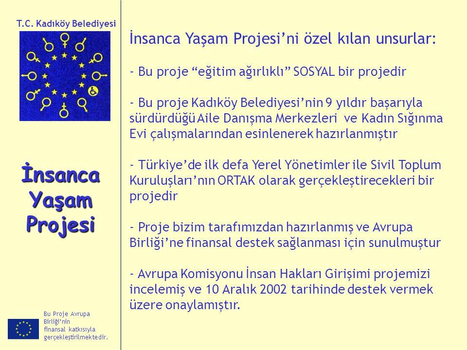 Bu Proje Avrupa Birliği'nin finansal katkısıyla gerçekleştirilmektedir. İnsanca Yaşam Projesi T.C. Kadıköy Belediyesi İnsanca Yaşam Projesi'ni özel kı