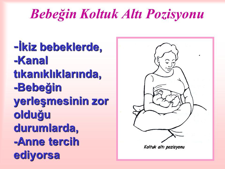 Bebeğin Koltuk Altı Pozisyonu - İkiz bebeklerde, -Kanal tıkanıklıklarında, -Bebeğin yerleşmesinin zor olduğu durumlarda, -Anne tercih ediyorsa