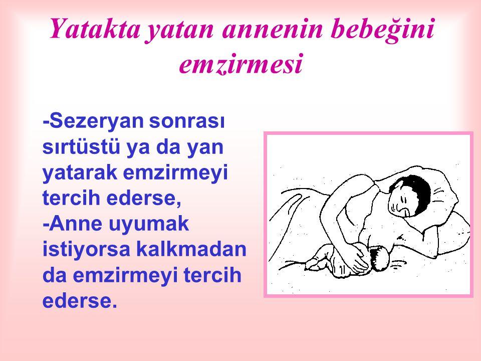Yatakta yatan annenin bebeğini emzirmesi -Sezeryan sonrası sırtüstü ya da yan yatarak emzirmeyi tercih ederse, -Anne uyumak istiyorsa kalkmadan da emzirmeyi tercih ederse.