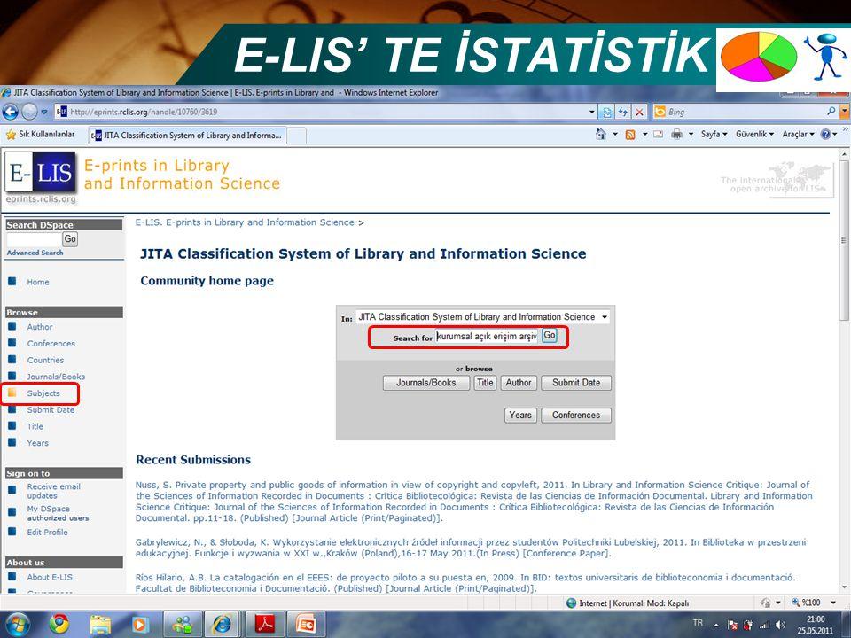E-LIS' TE İSTATİSTİK