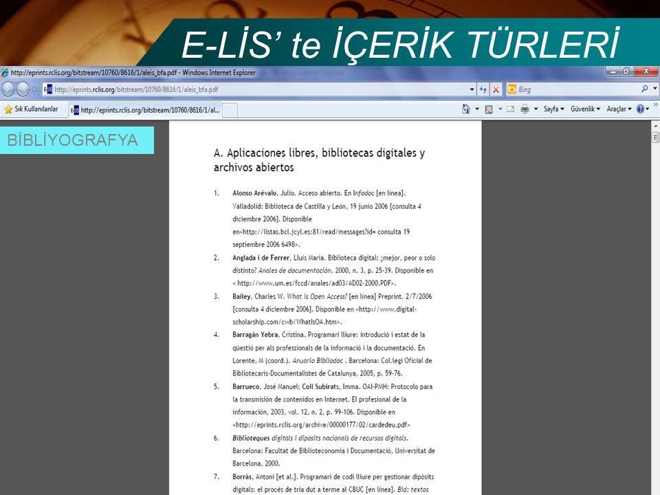 E-LİS' te İÇERİK TÜRLERİ BİBLİYOGRAFYA