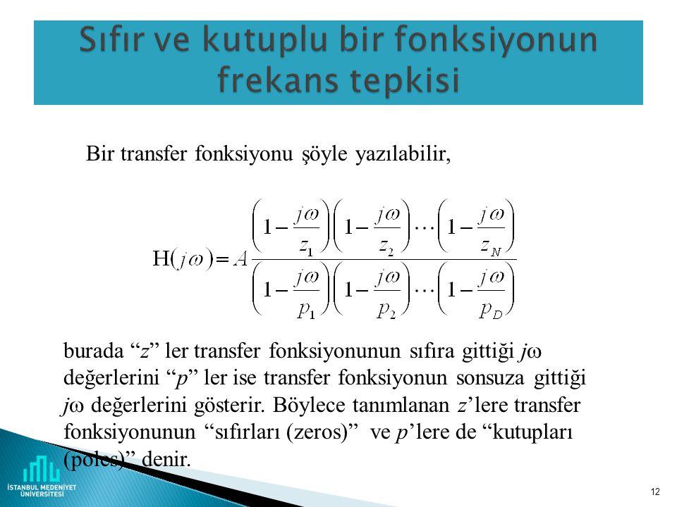 12 Bir transfer fonksiyonu şöyle yazılabilir, burada z ler transfer fonksiyonunun sıfıra gittiği j  değerlerini p ler ise transfer fonksiyonun sonsuza gittiği j  değerlerini gösterir.