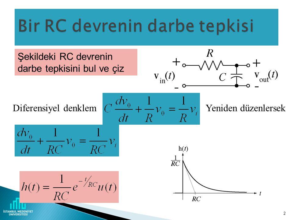 2 Şekildeki RC devrenin darbe tepkisini bul ve çiz Diferensiyel denklemYeniden düzenlersek