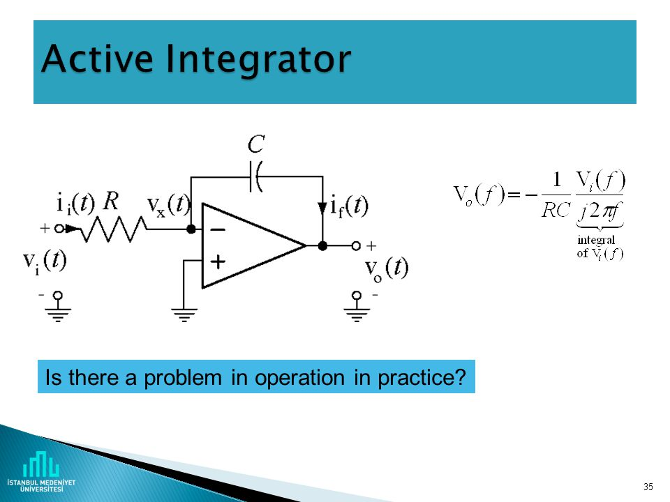 34 The ideal operational amplifier has infinite input impedance, zero output impedance, infinite gain and infinite bandwidth.