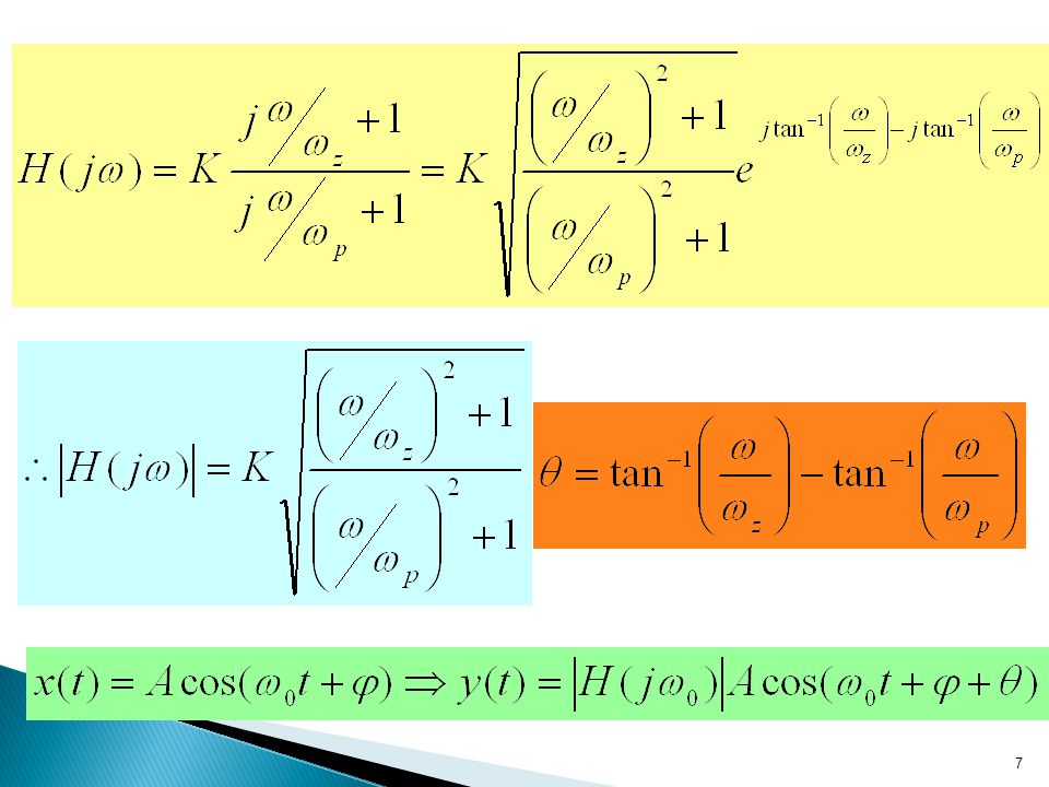 6 The frequency response function for a LTI system represented by the differential equation: Replace d/dt by s, the transfer function: Replace s by j
