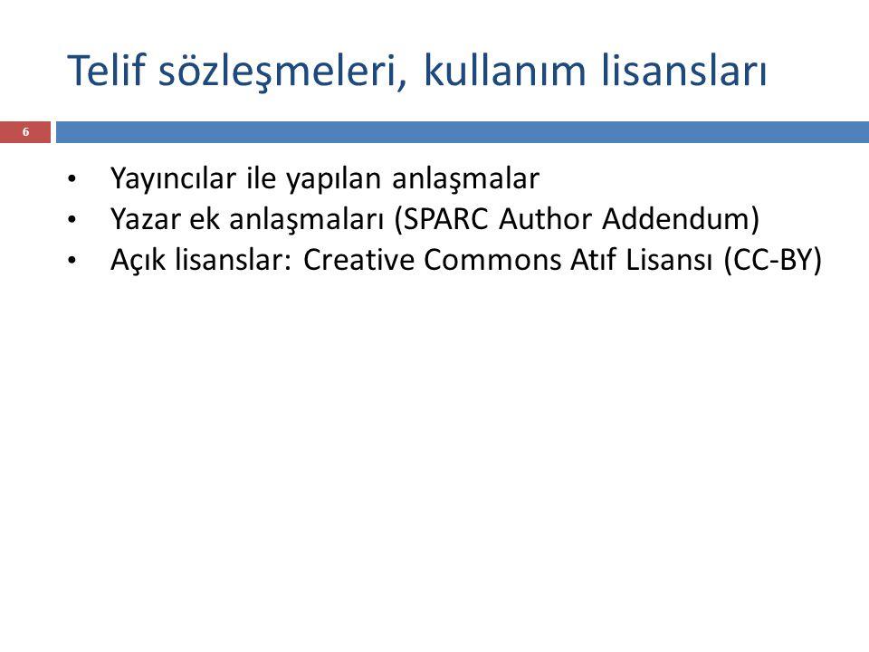 Telif sözleşmeleri, kullanım lisansları 6 Yayıncılar ile yapılan anlaşmalar Yazar ek anlaşmaları (SPARC Author Addendum) Açık lisanslar: Creative Commons Atıf Lisansı (CC-BY)