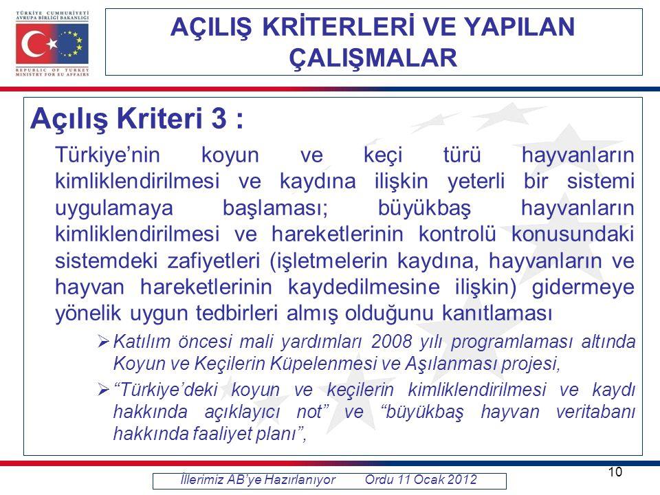 AÇILIŞ KRİTERLERİ VE YAPILAN ÇALIŞMALAR Açılış Kriteri 3 : Türkiye'nin koyun ve keçi türü hayvanların kimliklendirilmesi ve kaydına ilişkin yeterli bir sistemi uygulamaya başlaması; büyükbaş hayvanların kimliklendirilmesi ve hareketlerinin kontrolü konusundaki sistemdeki zafiyetleri (işletmelerin kaydına, hayvanların ve hayvan hareketlerinin kaydedilmesine ilişkin) gidermeye yönelik uygun tedbirleri almış olduğunu kanıtlaması  Katılım öncesi mali yardımları 2008 yılı programlaması altında Koyun ve Keçilerin Küpelenmesi ve Aşılanması projesi,  Türkiye'deki koyun ve keçilerin kimliklendirilmesi ve kaydı hakkında açıklayıcı not ve büyükbaş hayvan veritabanı hakkında faaliyet planı , İllerimiz AB'ye Hazırlanıyor Ordu 11 Ocak 2012 10