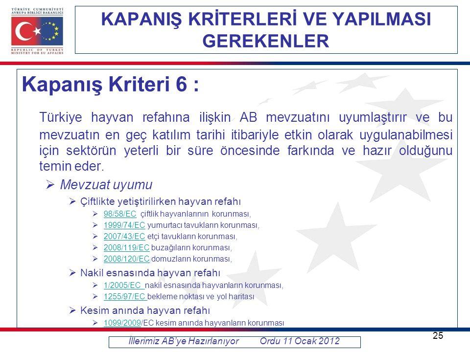KAPANIŞ KRİTERLERİ VE YAPILMASI GEREKENLER Kapanış Kriteri 6 : Türkiye hayvan refahına ilişkin AB mevzuatını uyumlaştırır ve bu mevzuatın en geç katılım tarihi itibariyle etkin olarak uygulanabilmesi için sektörün yeterli bir süre öncesinde farkında ve hazır olduğunu temin eder.