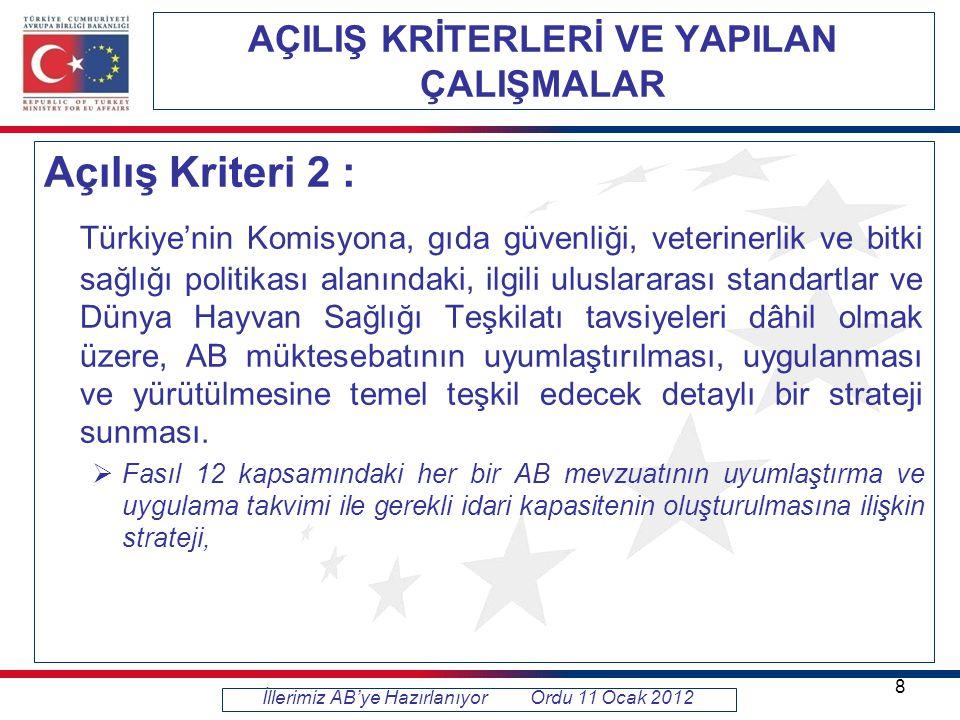 AÇILIŞ KRİTERLERİ VE YAPILAN ÇALIŞMALAR Açılış Kriteri 2 : Türkiye'nin Komisyona, gıda güvenliği, veterinerlik ve bitki sağlığı politikası alanındaki, ilgili uluslararası standartlar ve Dünya Hayvan Sağlığı Teşkilatı tavsiyeleri dâhil olmak üzere, AB müktesebatının uyumlaştırılması, uygulanması ve yürütülmesine temel teşkil edecek detaylı bir strateji sunması.