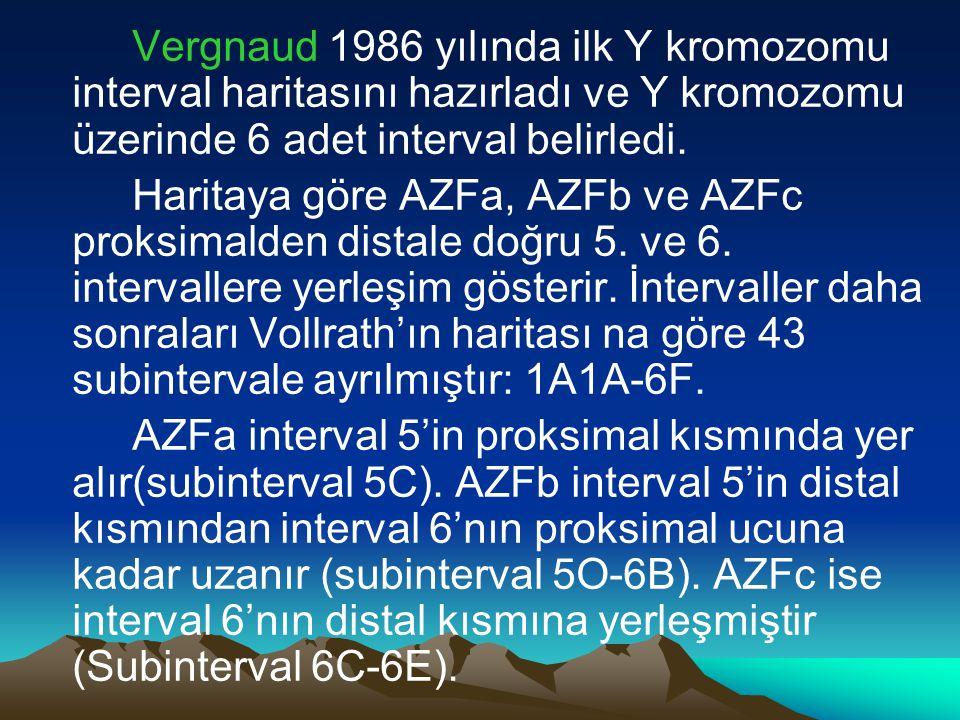 Vergnaud 1986 yılında ilk Y kromozomu interval haritasını hazırladı ve Y kromozomu üzerinde 6 adet interval belirledi. Haritaya göre AZFa, AZFb ve AZF