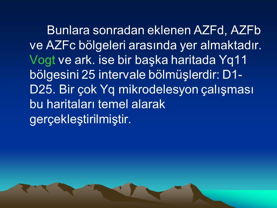Bunlara sonradan eklenen AZFd, AZFb ve AZFc bölgeleri arasında yer almaktadır. Vogt ve ark. ise bir başka haritada Yq11 bölgesini 25 intervale bölmüşl