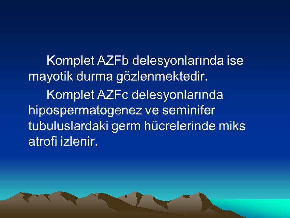Komplet AZFb delesyonlarında ise mayotik durma gözlenmektedir. Komplet AZFc delesyonlarında hipospermatogenez ve seminifer tubuluslardaki germ hücrele