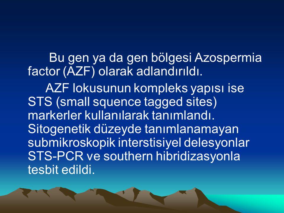 Bu gen ya da gen bölgesi Azospermia factor (AZF) olarak adlandırıldı. AZF lokusunun kompleks yapısı ise STS (small squence tagged sites) markerler kul