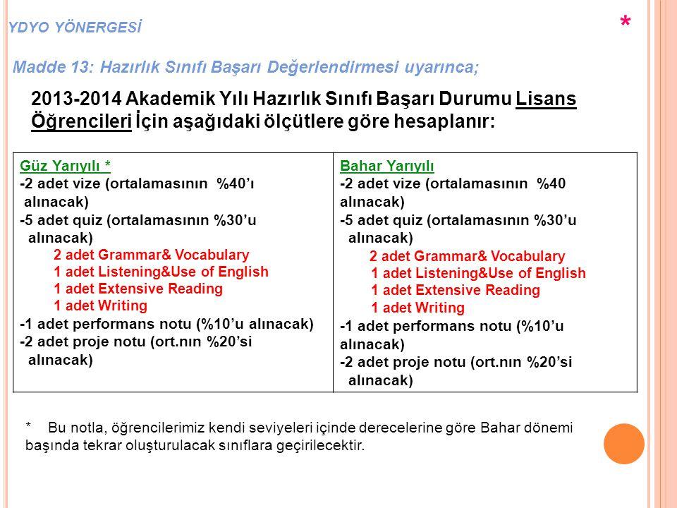 Güz Yarıyılı * -2 adet vize (ortalamasının %40'ı alınacak) -5 adet quiz (ortalamasının %30'u alınacak) 2 adet Grammar& Vocabulary 1 adet Listening&Use