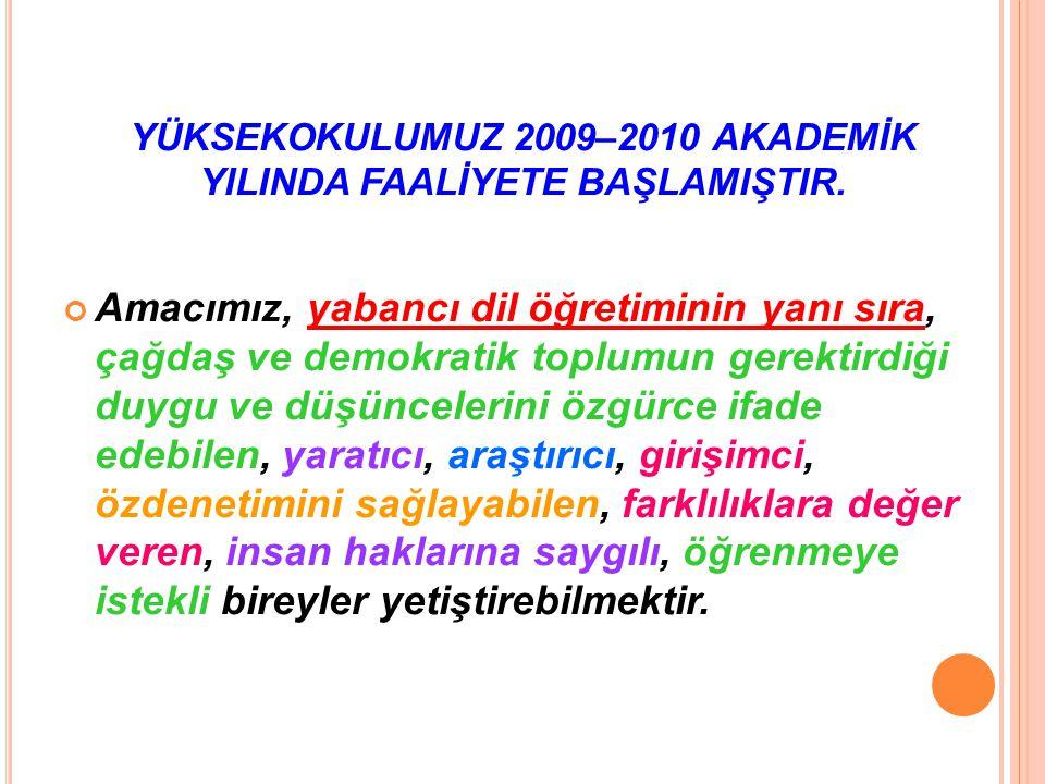 YÜKSEKOKULUMUZ 2009–2010 AKADEMİK YILINDA FAALİYETE BAŞLAMIŞTIR. Amacımız, yabancı dil öğretiminin yanı sıra, çağdaş ve demokratik toplumun gerektirdi