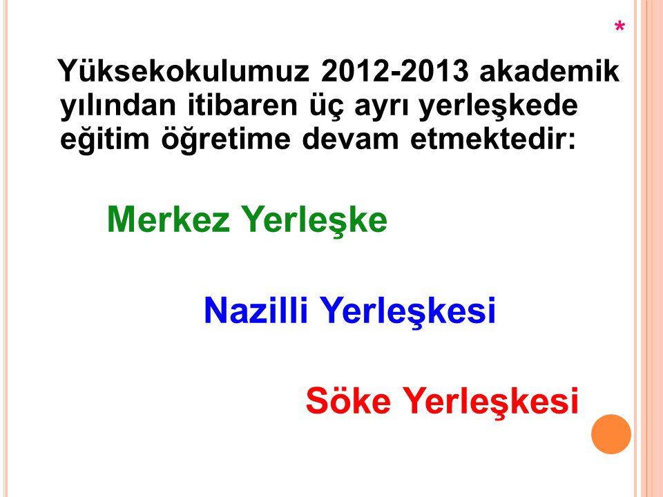 * Yüksekokulumuz 2012-2013 akademik yılından itibaren üç ayrı yerleşkede eğitim öğretime devam etmektedir: Merkez Yerleşke Nazilli Yerleşkesi Söke Yer