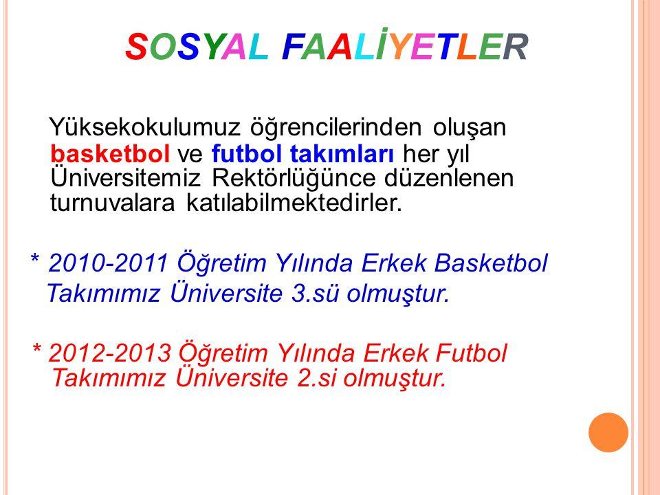 SOSYAL FAALİYETLERSOSYAL FAALİYETLER Yüksekokulumuz öğrencilerinden oluşan basketbol ve futbol takımları her yıl Üniversitemiz Rektörlüğünce düzenlene