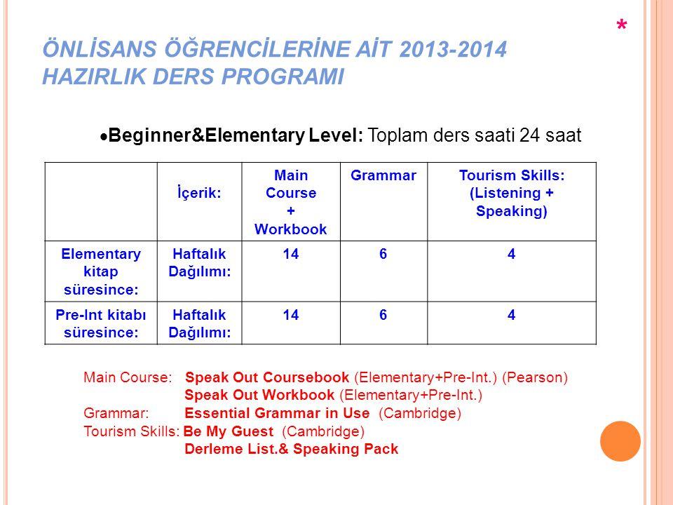ÖNLİSANS ÖĞRENCİLERİNE AİT 2013-2014 HAZIRLIK DERS PROGRAMI  Pre-Intermediate Level: Toplam ders saati 22 saat İçerik:Main Course + Workbook GrammarTourism Skills: (Listening + Speaking) Voc.